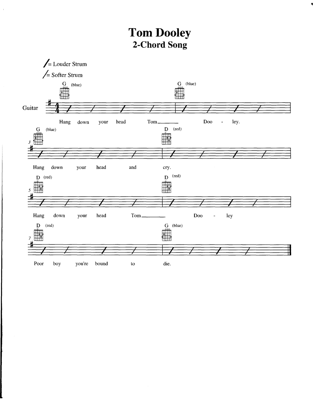 4 Lesson Two Chord Song Tom Dooley Chord Buddy Europe Learn To